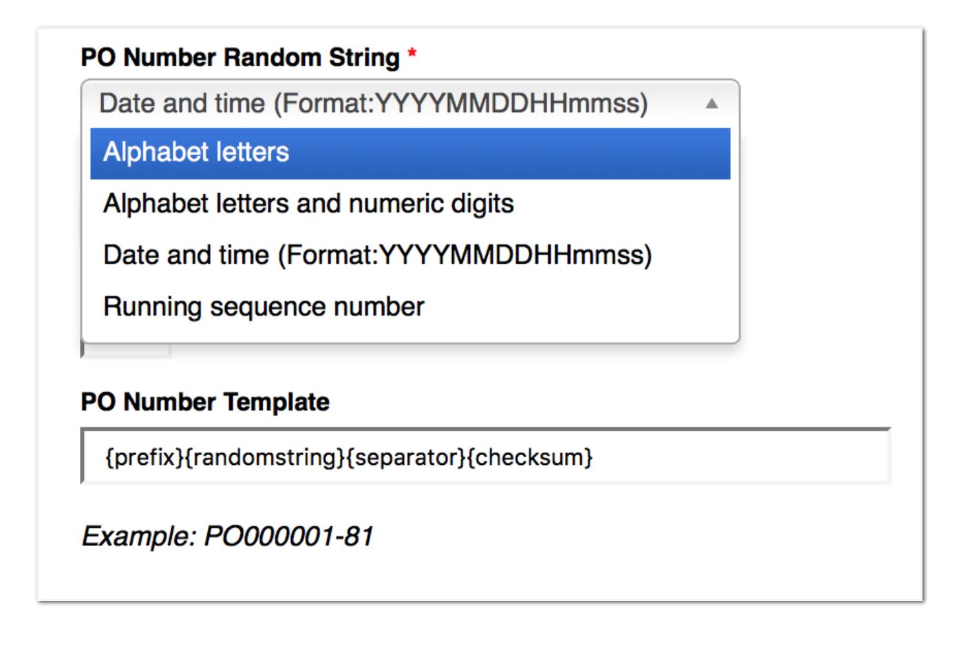 Flexible Order Number Formatting